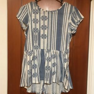 Blue and white baby doll top